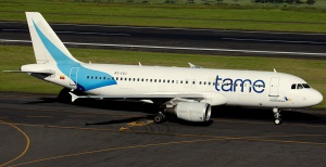 TAME's Airbus A-320 at Quito International Airport.